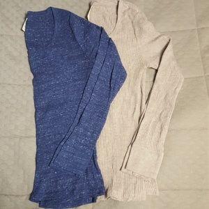 2 Rib Knit Long Sleeve Tees
